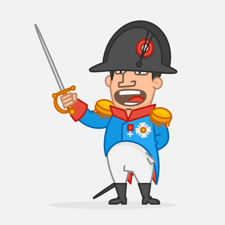 Napoleon Bonaparte holds sword and shouts. Funny character. Vector Illustration Stock Illustratie