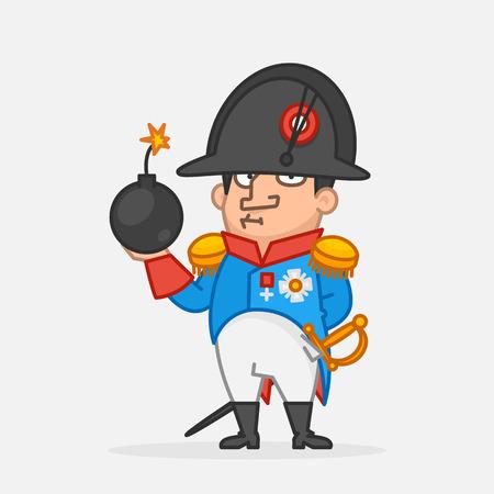 Napoleón Bonaparte serio y sosteniendo bomba. Carácter divertido. Ilustración vectorial