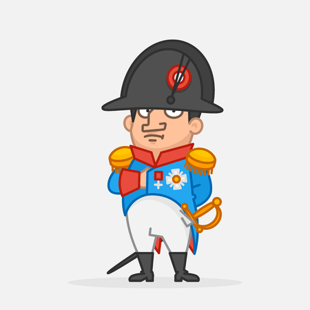 Napoleon Bonaparte holds hand on chest. Funny character. Vector Illustration Illustration