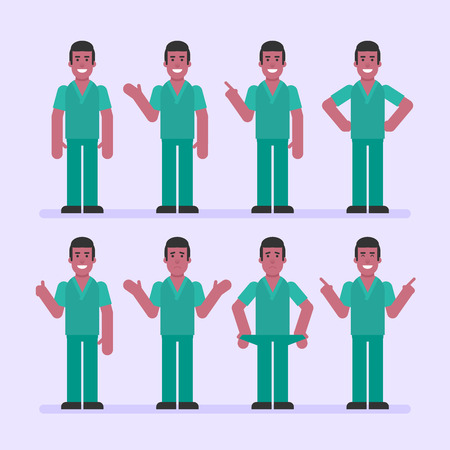 Nurse man points and shows. Character set. Vector Illustration Ilustracja