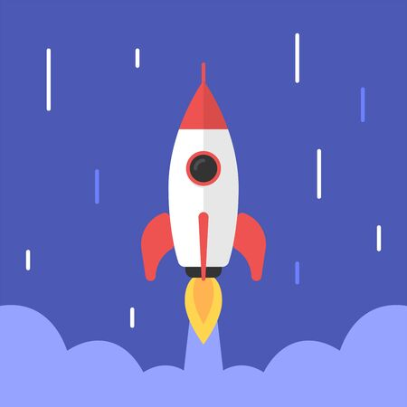 Rocket flies into space. Abstract background. Vector Illustration Ilustracja