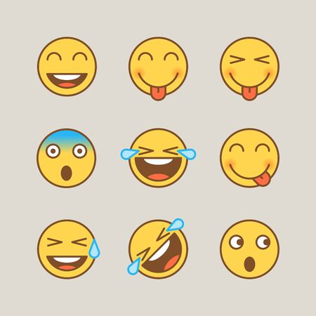Emoticons smile shows tongue scared tears joy. Funny stickers. Vector signs