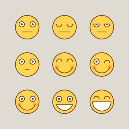 Emoticons serious smile. Funny stickers. Vector signs