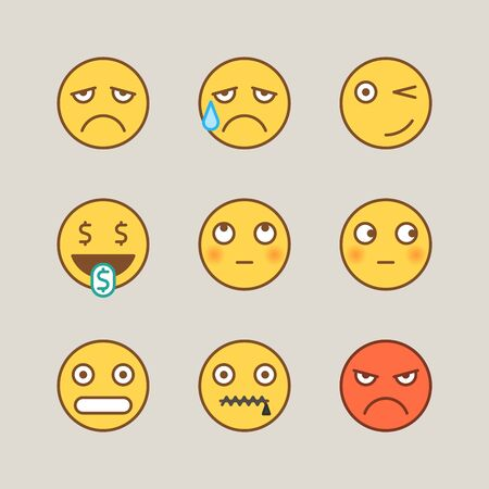 Emoticons sad crying winks cash angry shy mouth to lock. Funny stickers. Vector signs