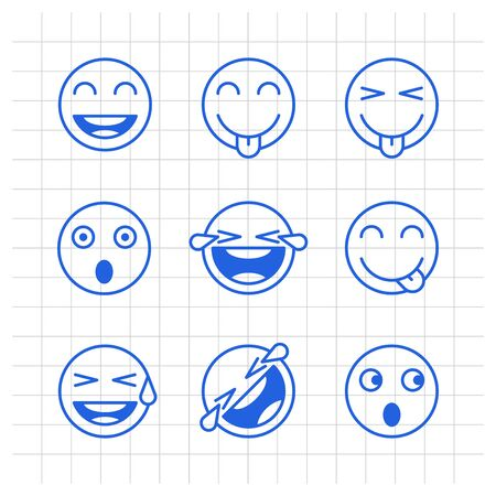 Outlines emoticons smile shows tongue scared tears joy. Funny stickers. Vector signs