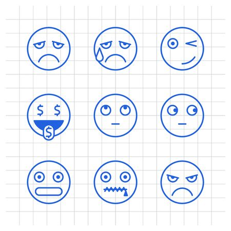 Outlines emoticons sad crying winks cash angry shy mouth to lock. Funny stickers. Vector signs Ilustracja