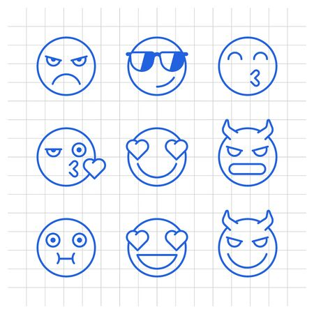 Outlines emoticons angry demon kiss nauseous love smile. Funny stickers. Vector signs