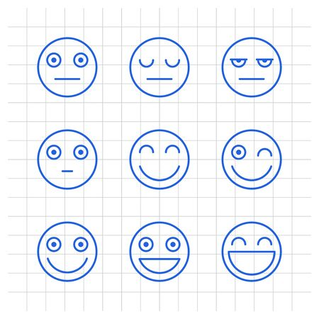 Outlines emoticons serious smile. Funny stickers. Vector signs