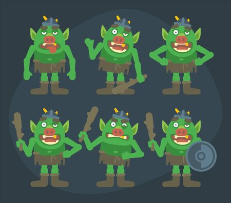 Funny troll character in various poses. Character set. Vector Illustration Ilustracja