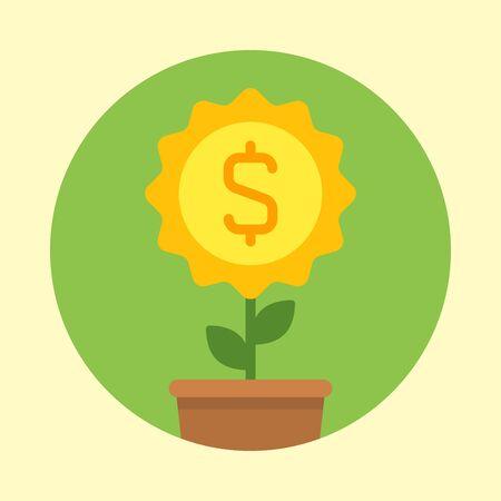 Business icon money flower dollar sign. Vector Illustration. Vector icon