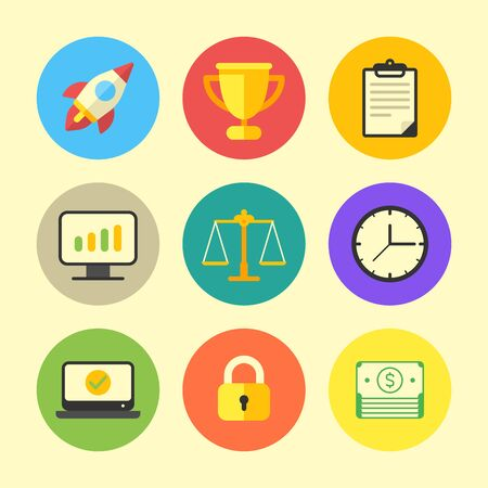 Business icon rocket cup document monitor graph scales watch laptop padlock money. Vector Illustration. Icon set Ilustracja