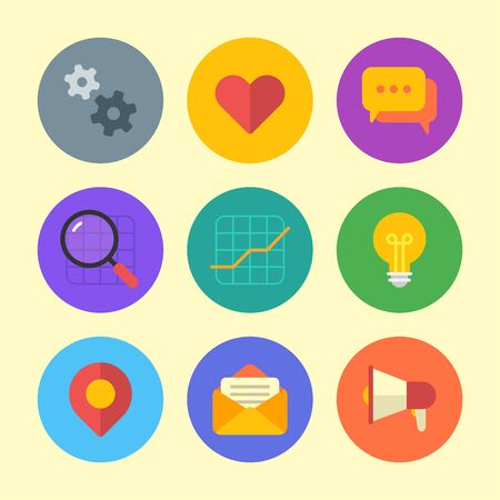 Business icon gears heart comments magnifier chart light bulb geotag letter megaphone. Vector Illustration. Icon set