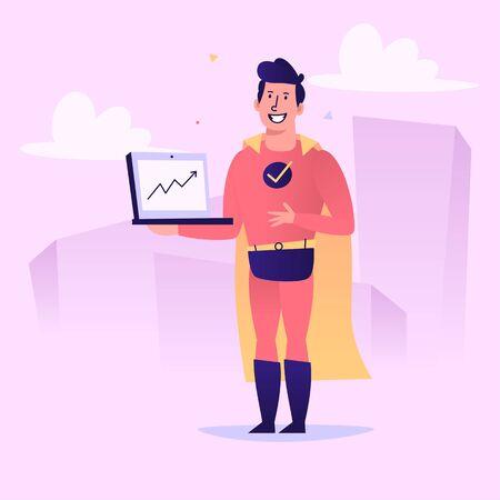 Superhero holding laptop on screen up arrow sign. Vector character. Vector Illustration 版權商用圖片 - 143297441