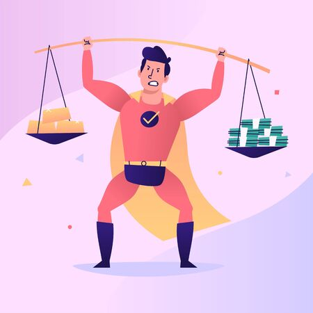 Superhero raises pole with gold and money. Vector character. Vector Illustration