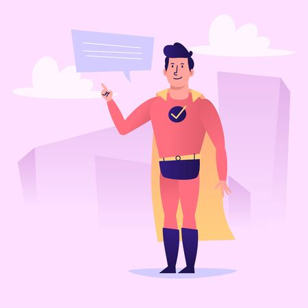 Superhero points finger and smiles. Vector character. Vector Illustration