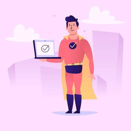 Superhero holding laptop on screen check-mark icon. Vector character. Vector Illustration 版權商用圖片 - 143297442