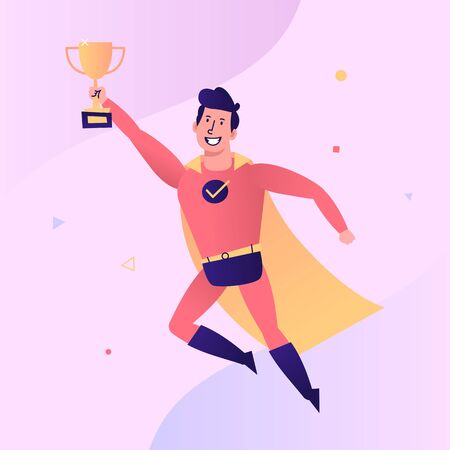Superhero flies and holds golden goblet. Vector character. Vector Illustration Ilustracja