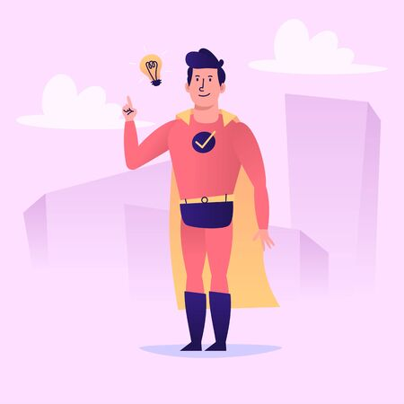 Superhero came up with an idea and smiles. Vector character. Vector Illustration 矢量图像