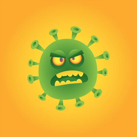 Virus gets angry and bites. Vector character. Vector Illustration