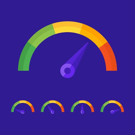 Business speedometer. Vector icons and objects. Vector Illustration