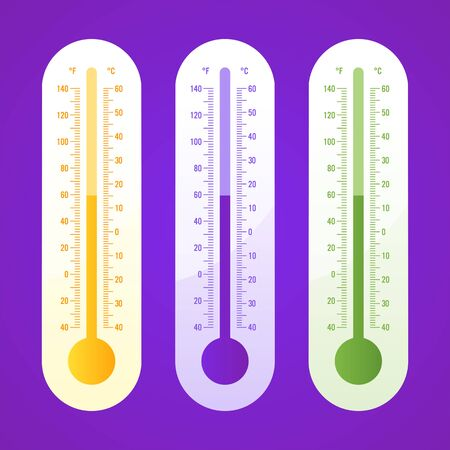 Thermometer three options part 2. Vector icons and objects. Vector Illustration