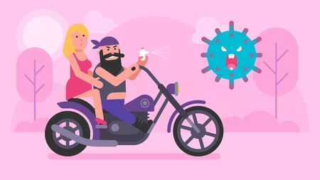 Biker and girl ride motorcycle and against COVID-19. Vector illustration. Concept art Ilustracja