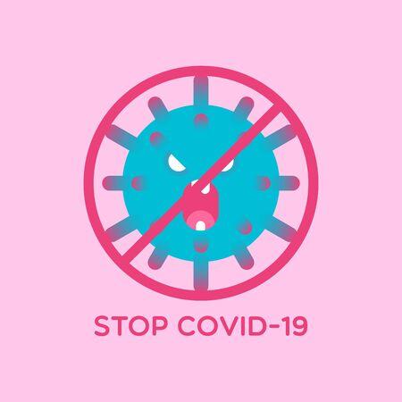 Stop COVID-19. Prohibition sign. Vector illustration. Concept art