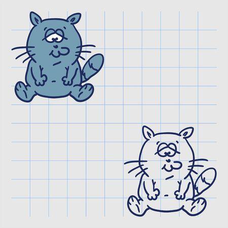 Funny cat sad. Hand drawn character. Vector illustration