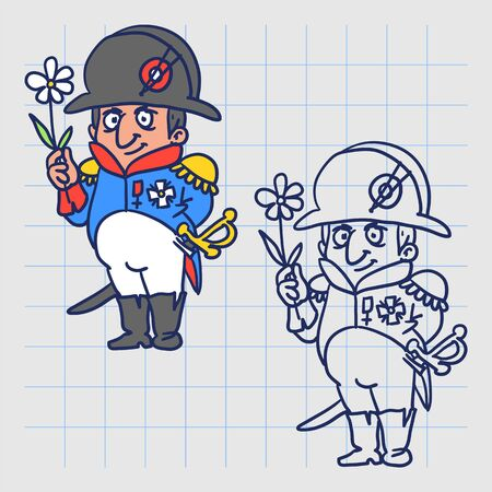 Napoleon Bonaparte holding flower and smiling. Hand drawn character. Vector illustration