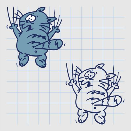 Funny cat hanging on paws. Hand drawn character. Vector illustration