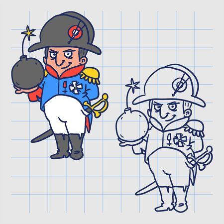 Napoleon Bonaparte holding bomb and smiling. Hand drawn character. Vector illustration