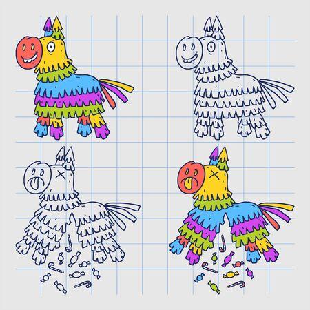 Mexikanische Pinata-Pferd. Doodle-Figuren. Vektor-Illustration