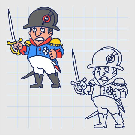 Napoleon Bonaparte angry holds sword. Hand drawn character. Vector illustration
