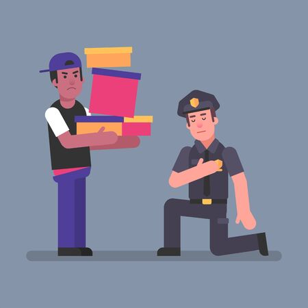 Policeman kneeling in front man Afro-American. Concept. Vector Illustration Ilustracja