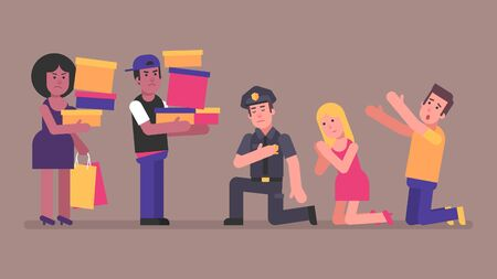 Policeman girl and man are kneeling in front Afro-Americans. Concept. Vector Illustration