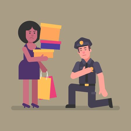 Policeman kneeling in front woman Afro-American. Concept. Vector Illustration