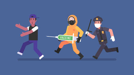 Policeman and man in protective suit with syringe chasing man. Flat people. Vector Illustration