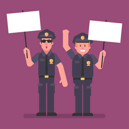 Policemans are holding signs and rebel. Flat people. Vector Illustration Çizim