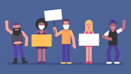 Group people women and men hold signs and rebel. Flat people. Vector Illustration