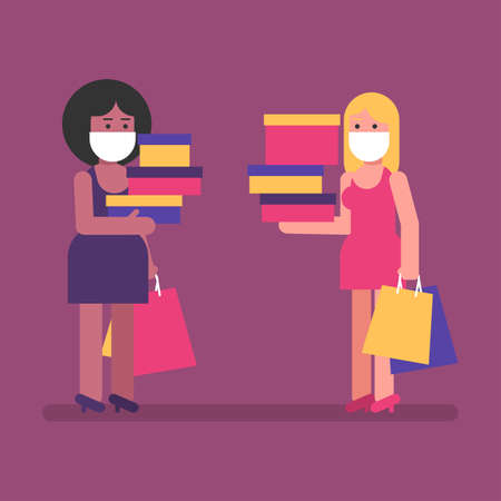 Two girls hold packages and boxes with purchases. Flat people. Vector Illustration
