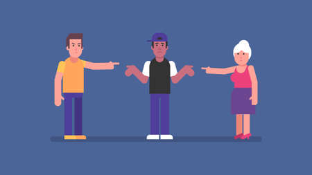 Man and old woman point to afro american guy. Flat people. Vector Illustration Çizim