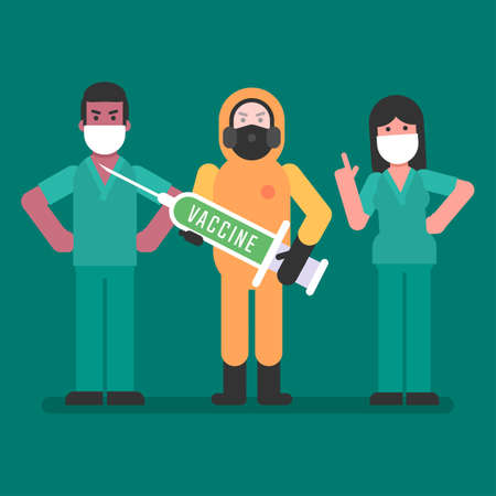 Man in protective suit holds syringe with vaccine. Doctors stand nearby. Vector Illustration