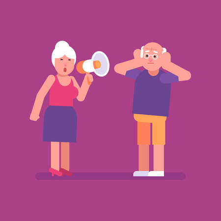 Old woman shouts through megaphone on old man. Flat people. Vector illustration