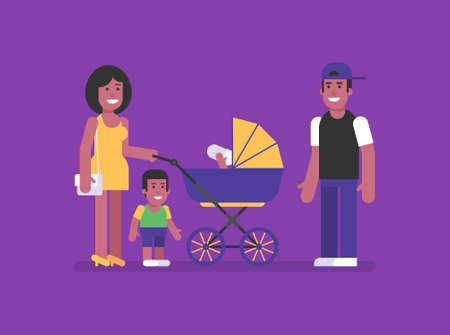African American woman stands with stroller with two children man and smiling. Flat people. Vector Illustration 矢量图像