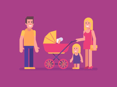Woman stands with stroller with two children man and smiling. Flat people. Vector Illustration 矢量图像