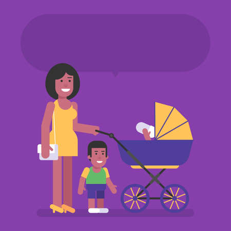 African American woman stands with stroller with two children and smiling. Flat people. Vector Illustration