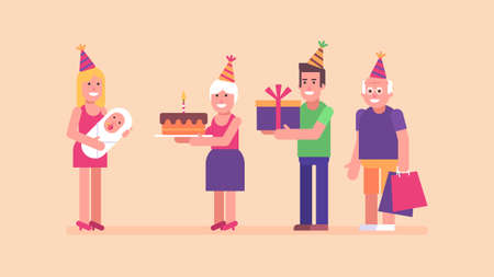 Old man old woman and man congratulates girl with baby happy birthday. Flat people. Vector Illustration