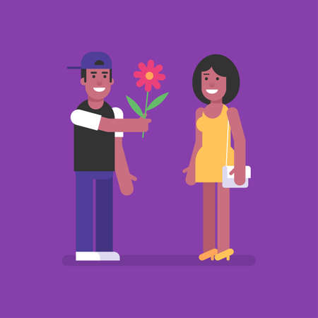 African American man giving flower to African American woman. Flat people. Vector Illustration