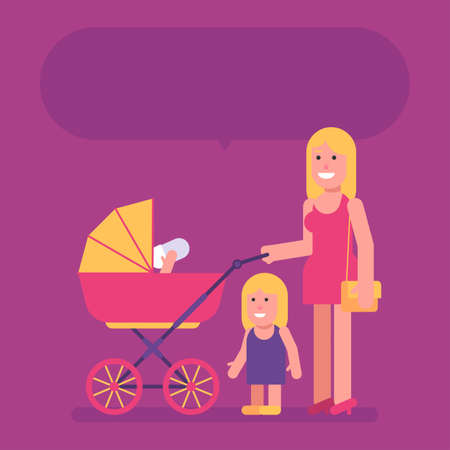 Woman stands with stroller with two children and smiling. Flat people. Vector Illustration