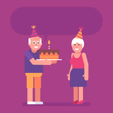Old man holding cake and congratulating old woman on his birthday. Flat people. Vector Illustration 矢量图像